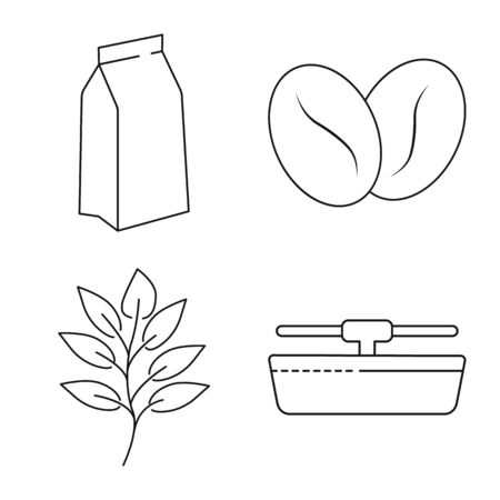 Isolated object of process and farming symbol. Set of process and industry vector icon for stock.