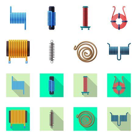 Vector design of compression and torsion logo. Set of compression and technology stock symbol for web. Illustration