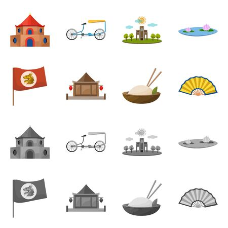 Isolated object of travel and country symbol. Set of travel and asia stock symbol for web.