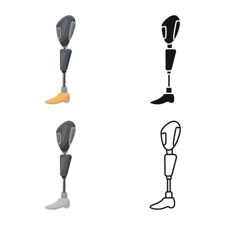 Oggetto isolato del logo della gamba e della protesi. Elemento Web di illustrazione vettoriali stock gamba e amputazione.