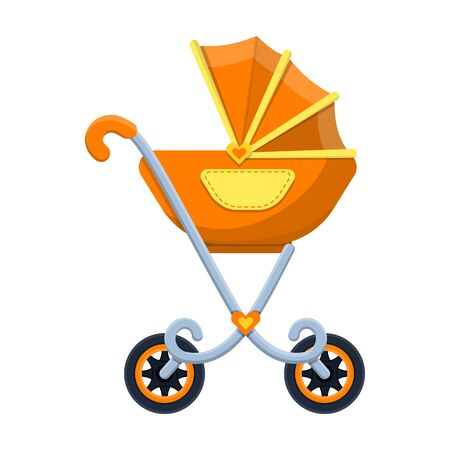 Stroller vector icon.Cartoon vector icon isolated on white background stroller. Foto de archivo - 133997154