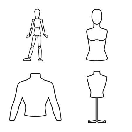 Ilustracja wektorowa ikony manekina i mody. Zestaw ikon wektorowych manekina i formularza na magazynie.