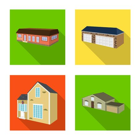 Vector illustration of facade and housing sign. Set of facade and infrastructure stock symbol for web. Zdjęcie Seryjne - 134310876