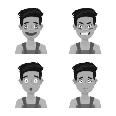 Isolated object of face and boy sign. Collection of face and expression vector icon for stock.