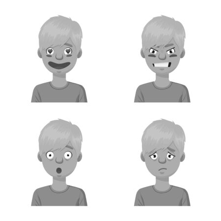 Vector illustration of face and boy symbol. Collection of face and young stock symbol for web.