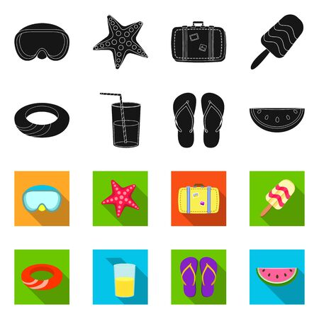 Isolated object of equipment and swimming . Set of equipment and activity stock vector illustration.