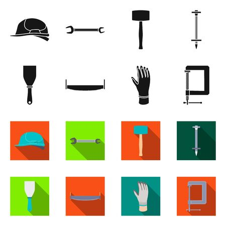 Vector illustration of renovation and household sign. Collection of renovation and handicraft stock symbol for web.