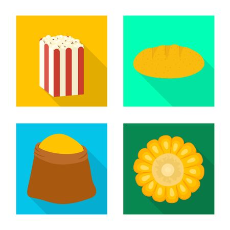 Vector illustration of cornfield and vegetable sign. Collection of cornfield and vegetarian stock symbol for web.