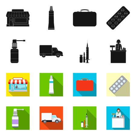 Isolated object of pharmacy and hospital symbol. Collection of pharmacy and business vector icon for stock.