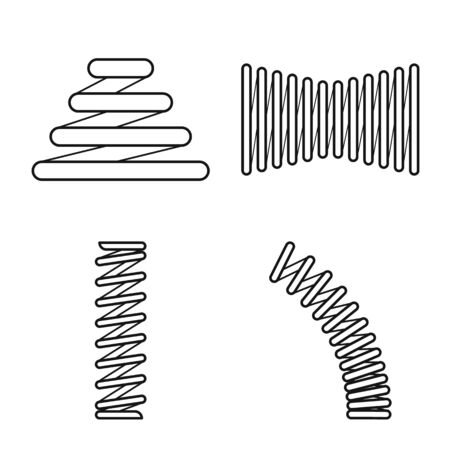 Vector design of spiral and compression . Collection of spiral and pressure vector icon for stock.
