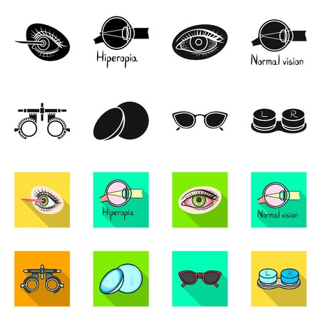 Vector illustration of optometry and medicine symbol. Set of optometry and diagnostic stock vector illustration.