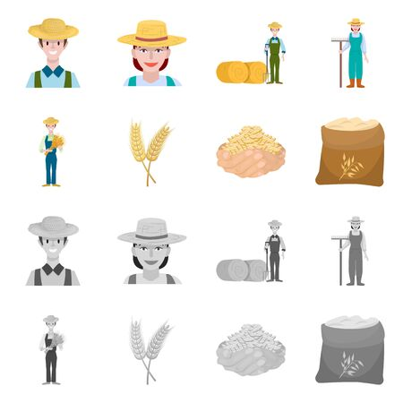 Isolated object of farm and arable . Set of farm and harvest stock vector illustration.