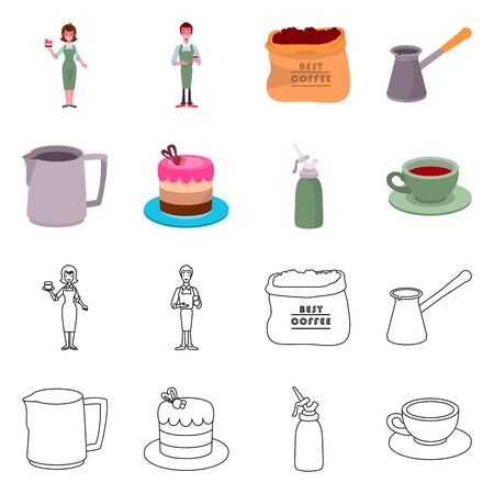 Isolated object of cafe and house symbol. Set of cafe and service vector icon for stock.
