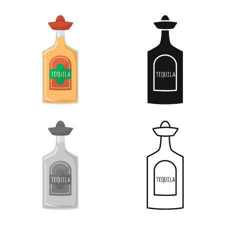Isolated object of bottle and tequila icon. Graphic of bottle and glass vector icon for stock. Ilustración de vector