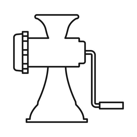 Vector illustration of meat and grinder icon. Graphic of meat and handle stock vector illustration. Иллюстрация