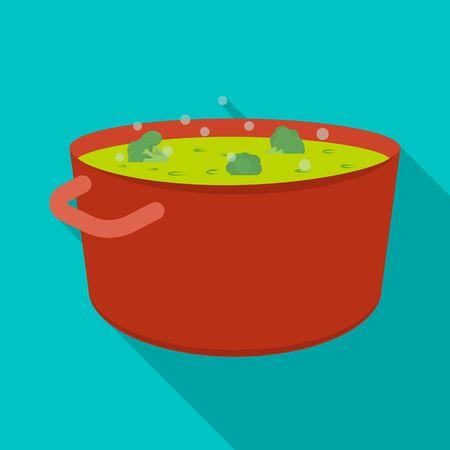Vector design of saucepan and broccoli icon. Set of saucepan and vegetable vector icon for stock.