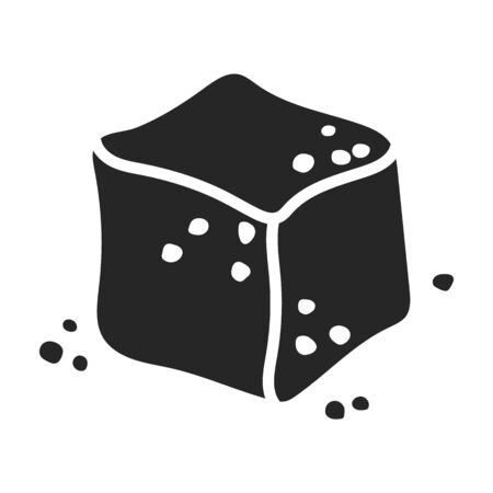 Cube of sugar vector icon.Black vector icon isolated on white background cube of sugar.