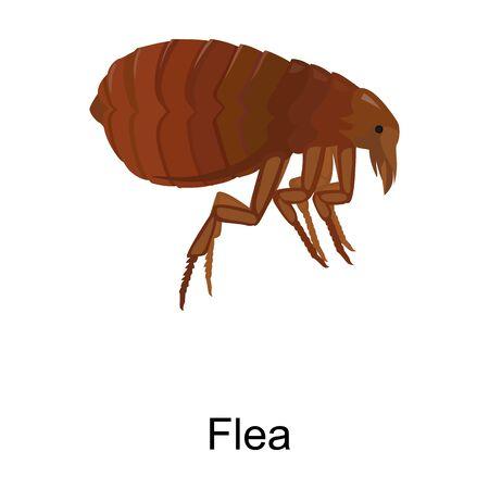 Icono de vector de pulga Icono de vector de dibujos animados aislado sobre fondo blanco pulga.