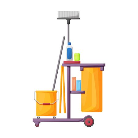 Cleaning of trolley vector icon.Cartoon vector icon isolated on white background cleaning trolley. Foto de archivo - 134457074