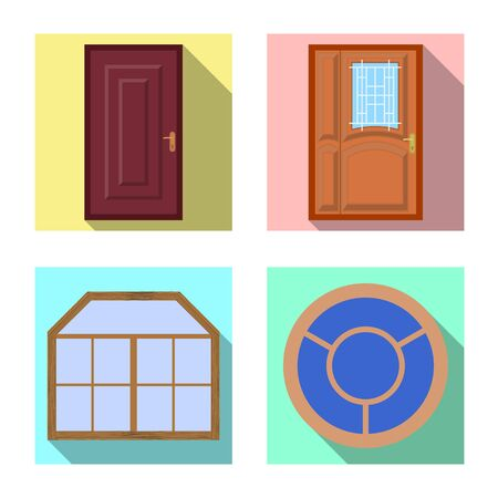Isolated object of door and front. Set of door and wooden vector icon for stock.