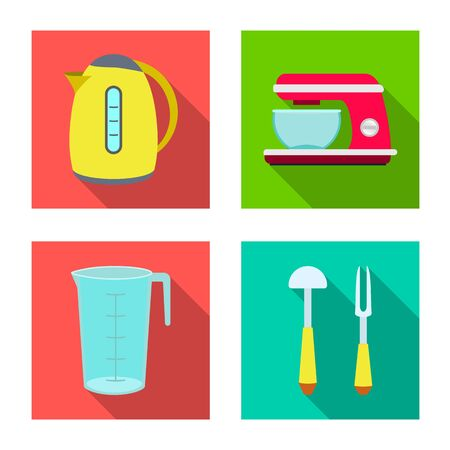 Vector design of kitchen and cook. Collection of kitchen and appliance vector icon for stock.
