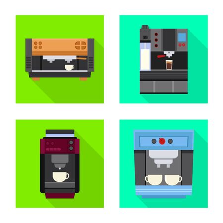 Vector design of machine and cafe icon. Set of machine and kitchen stock symbol for web.