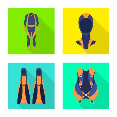 Vector design of diving and water symbol. Set of diving and scuba stock symbol for web.