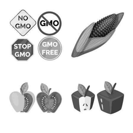 Vector design of transgenic and organic symbol. Set of transgenic and synthetic stock vector illustration.