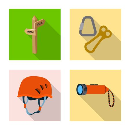 Vector design of mountaineering and peak symbol. Collection of mountaineering and camp stock symbol for web.  イラスト・ベクター素材
