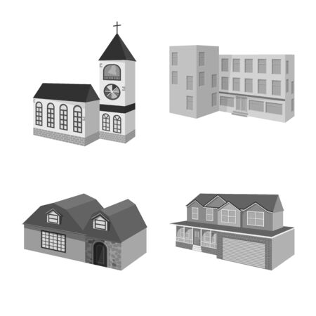 Vector illustration of architecture and estate symbol. Set of architecture and housing stock vector illustration. Çizim