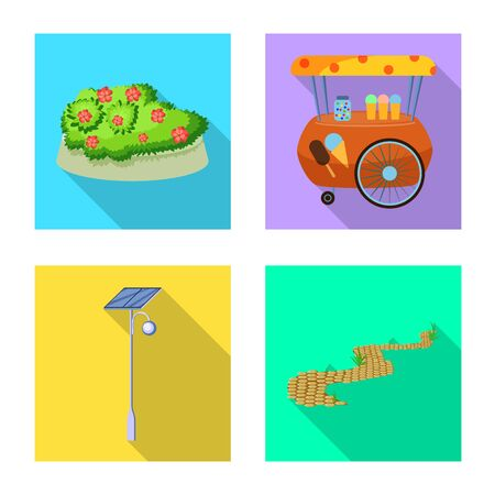 Vector design of urban and street. Set of urban and relaxation vector icon for stock.