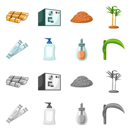 Isolated object of natural and production. Collection of natural and tropical stock vector illustration. Vettoriali