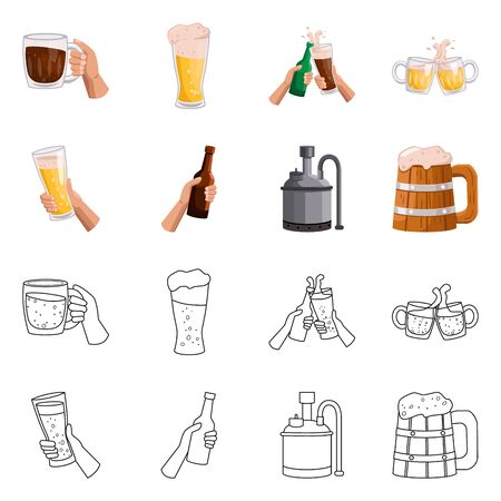 Isolated object of bar and oktoberfest icon. Set of bar and pint stock symbol for web.