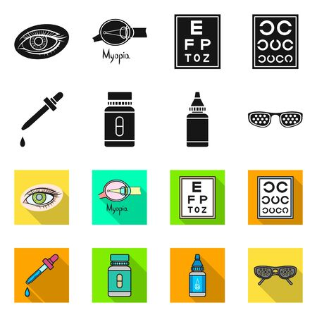 Vector design of optometry and medicine sign. Set of optometry and diagnostic vector icon for stock.