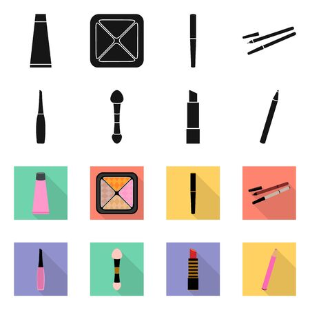 Vector design of makeup and product icon. Collection of makeup and cosmetology stock symbol for web.