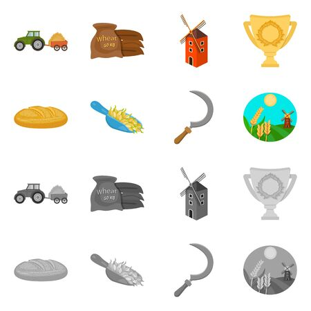 Isolated object of farm and arable icon. Collection of farm and harvest stock symbol for web.