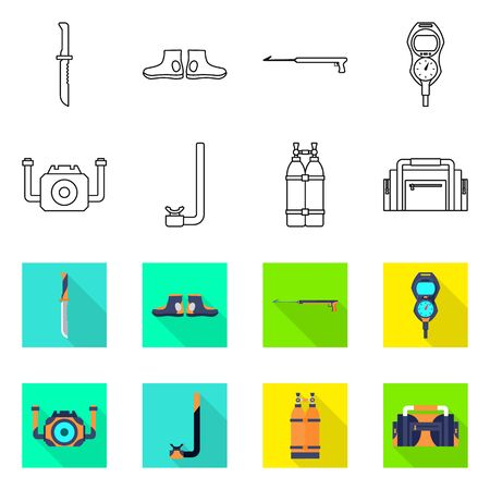 Vector illustration of diving and water icon. Collection of diving and scuba stock vector illustration.
