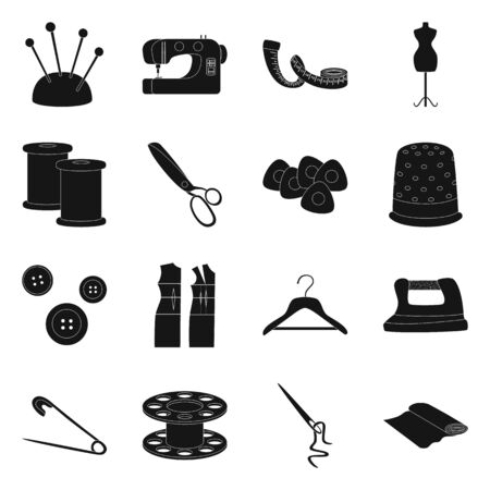 Isolated object of studio and industry. Collection of studio and sewing stock vector illustration.