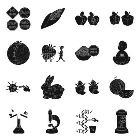Vector illustration of quality and laboratory. Collection of quality and genetically stock vector illustration.