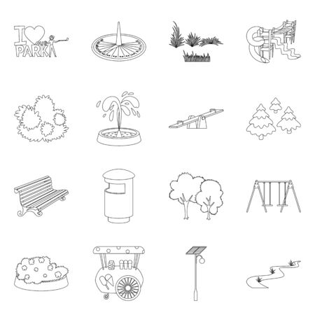 Vector illustration of landscape and nature icon. Set of landscape and city vector icon for stock. Illustration