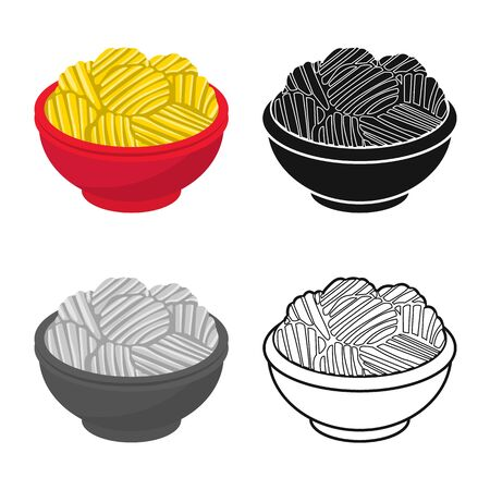 Vector design of bowl and chip sign. Graphic of bowl and potato vector icon for stock. Фото со стока - 134452231