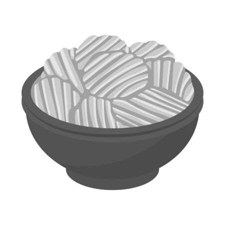 Vector design of bowl and chip icon. Web element of bowl and potato vector icon for stock.