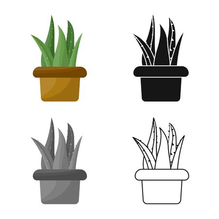 Isolated object of aloe and pot sign. Graphic of aloe and cactus stock vector illustration.