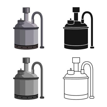 Objet isolé de signe de bière et de machine. Graphique de l'icône vecteur bière et alambic pour stock.