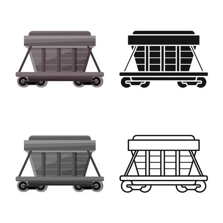 Vector design of wagon and container icon. Graphic of wagon and boxcar vector icon for stock.