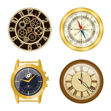 Diseño vectorial de icono de reloj y tiempo. Colección de ilustración de vector stock reloj y círculo.