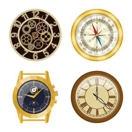 Vektordesign der Uhr und des Zeitsymbols. Sammlung von Uhr und Kreis Lager Vektor-Illustration.
