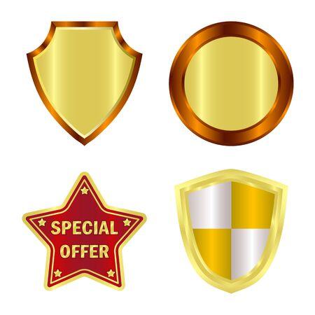 Vector illustration of emblem and badge symbol. Collection of emblem and sticker stock symbol for web. Stockfoto - 134582410