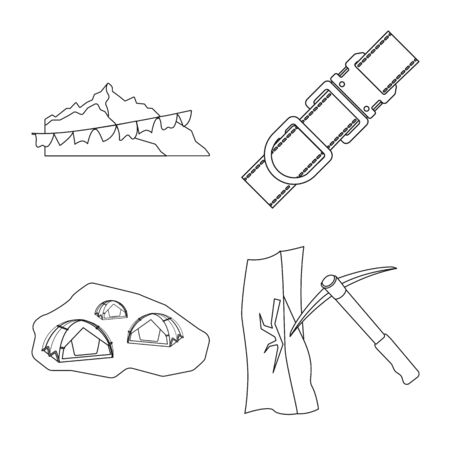 Isolated object of mountaineering and peak icon. Collection of mountaineering and camp stock vector illustration.  イラスト・ベクター素材
