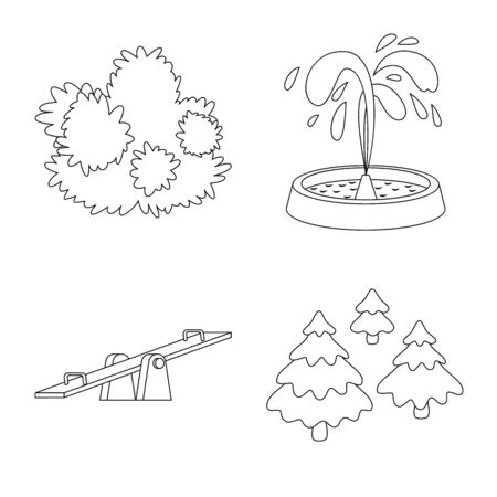 Vector design of landscape and nature symbol. Collection of landscape and city stock vector illustration. 矢量图像